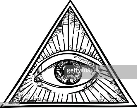 Hand drawn vector illustration all seeing eye pyramid symbol vector art