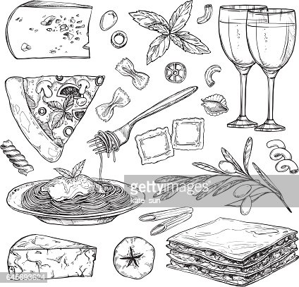 Hand drawn vector illustration - Italian food ( Different kinds of pasta; pizza, olives, tomato, basil, lasagna, wine, cheese etc). Design elements in sketch style. Perfect for menu, cards, blogs, banners. : stock vector