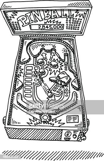 Hand Drawn Vector Illustration Of Pinball Machine Vector