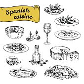 hand drawn vector illustration, a set of traditional Spanish cuisine. graphic sketch different blyud.moreprodukty, wine, dessert. Mediterranean cuisine
