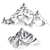 Hand drawn vector landscape with forest and mountains. sketch. vector eps 8