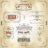 Vector illustration of a set of hand drawn frames, sketched banners, floral patterns, ribbons, and graphic design elements on vintage leather or old paper background. File is EPS10 and uses overlay tr