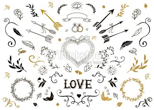 Hand drawn vintage decorative elements with lettering floral design hand drawn vintage decorative elements with lettering floral design wedding vector art junglespirit Image collections