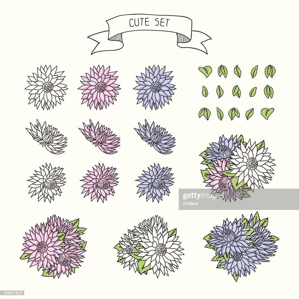 Hand drawn vintage floral Elemente für eine Hochzeit. : Vektorgrafik