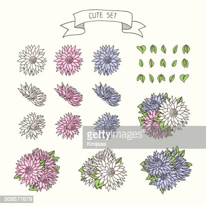 Hand drawn vintage floral elements for a wedding. : Vector Art