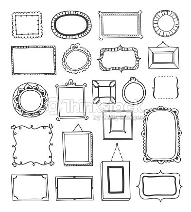 Hand Drawn Vintage Frames Made In Vector Outline Vector Art   Thinkstock