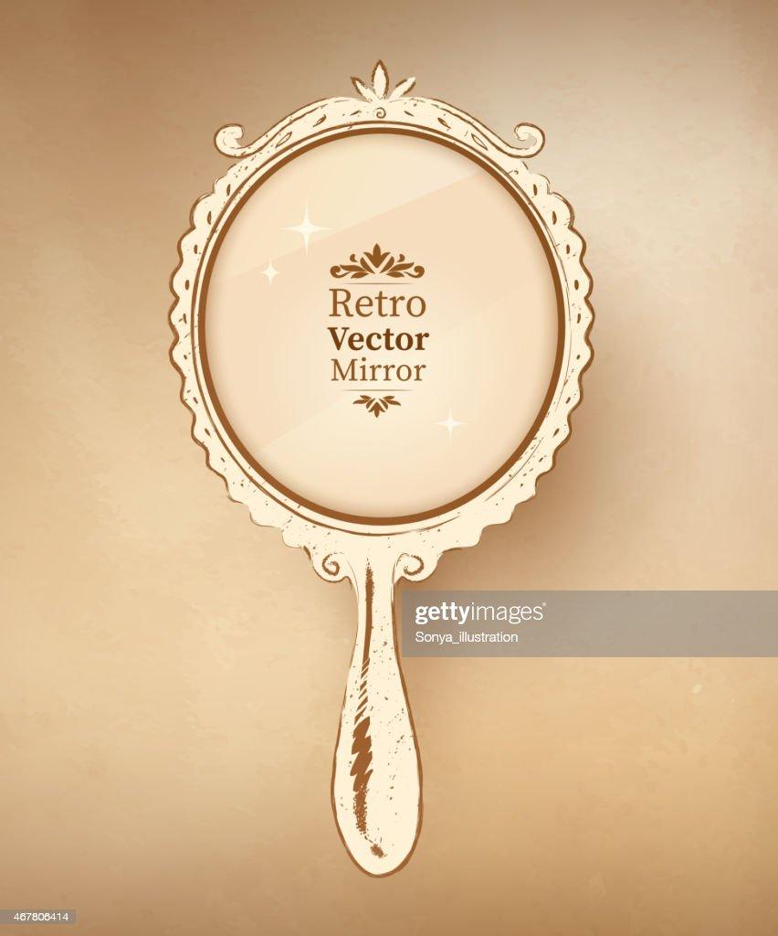 Hand Drawn Vintage Mirror. Vector Illustration.