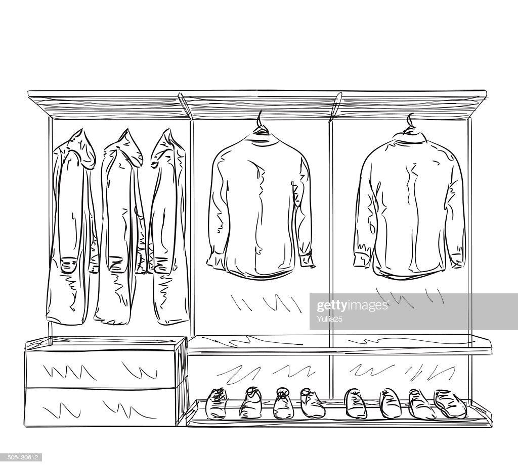 Hand Drawn Wardrobe Sketch. : Vector Art