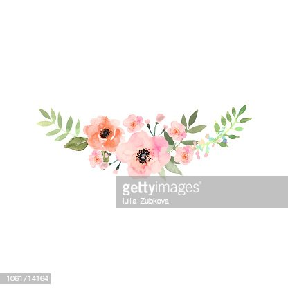 Hand drawn watercolor bouquet. Design for card, invitation. : stock vector