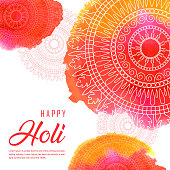 Hand Drawn Watercolor Holi Background