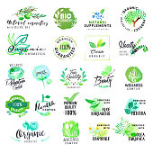 Set of hand drawn watercolor labels and badges for cosmetics and health care. Vector illustrations for graphic and web design, for natural products, spa and wellness, beauty and healthy life.