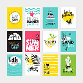 Hand drawn watercolor summer cards and banners collection. Vector illustrations for graphic and web design, for summer vacation, beach party, greeting cards, enjoying the sun and sea