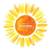 Hand drawn watercolor sun. White background. Vector illustration.