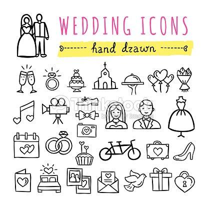 Hand Drawn Hochzeit Symbole Hochzeiten Verlobungsfeiern Liebe Paar
