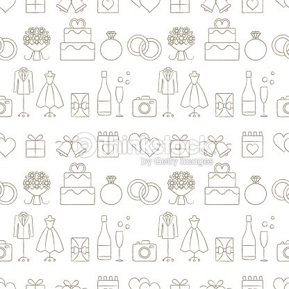 Hand Drawn Wedding Themed Vector Seamless Pattern Background 1 Art
