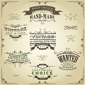 Illustration of a set of hand drawn western like sketched banners, floral patterns, ribbons, and far west design elements on vintage kraft paper background