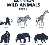 Hand drawn textured wild animals icons set with giraffe, zebra, panda, gorilla, elephant, and buffalo vector illustrations.