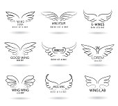 Hand drawn wings logo set. Vector doodle winged icons. Set of logo with linear wings illustration