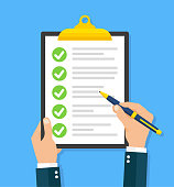 Hand filling checklist on clipboard - stock vector.