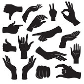 Vector icons: human hand gestures.