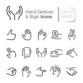 Hand gesture & sign icons. Come with layers.