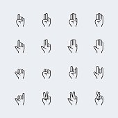 Hand gestures and language thin line icon set #2