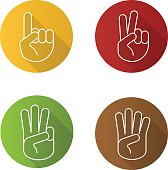 Hand gestures flat linear vector icons set. One, two, three and four fingers up
