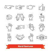 Hand gestures thin line art icons set. Nonverbal communication signals, body language signs. Linear style symbols isolated on white.