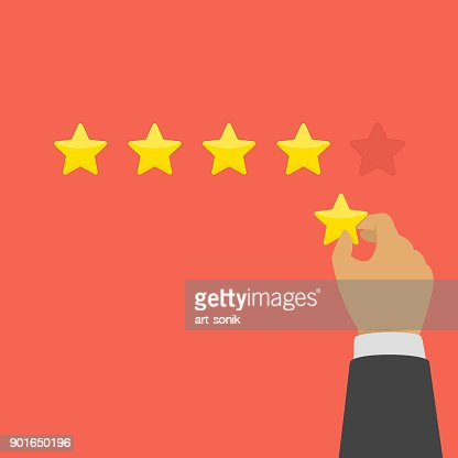 Hand giving five star rating. : stock vector