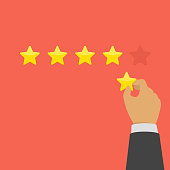Hand of businessman giving five star rating. Rating with golden stars. Evaluation, feedback, customer review or quality concept. Vector illustration in flat style. EPS 10.
