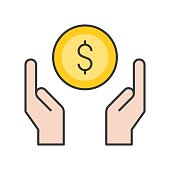 hand handle or carrying money, bank and financial related icon, filled outline editable stroke
