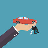 Hand holding car in palm and key on finger. Vector illustration