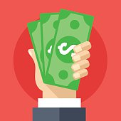 Hand holding cash flat illustration. Investment, marketing, withdrawal concepts. Creative flat design elements for web sites, printed materials, web banners, infographics. Modern vector illustration