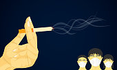 hand holding cigarette smoke floating in the air. dangerous to health kid other people. vector illustration eps10