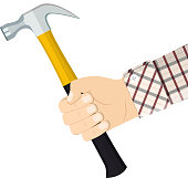 Hand holding hammer. Vector illustration in flat style