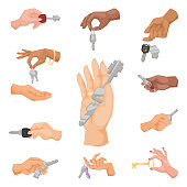 Hand holding key vector apartment selling human gesture sign security house concept arm symbol illustration. Business success body part with agent lock finger people hand holding key .