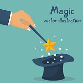 Hand holding magic wand. Sparks of stars over a magical black hat. Magician performs tricks, focus and illusions. Show entertainment. Vector illustration flat design. Isolated on white background.