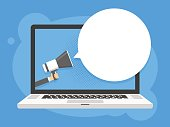 Hand holding megaphone. Laptop notebook computer screen background. Empty speech bubble. Vector illustration.