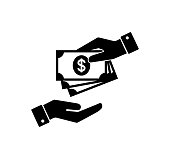 Hand holding money. Hand with banknotes. Cash payment and receiving money icon.  Paying money icons.