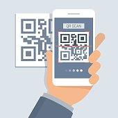 Hand holding phone with app for scanning QR code, flat design illustration