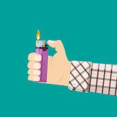 Hand holding plastic lighter. Vector illustration in flat style
