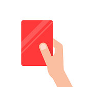 hand holding red football card. concept of arbitrator, removal of a football field, mentor, breaking of rules, presentation. flat style trend modern design vector illustration on white background