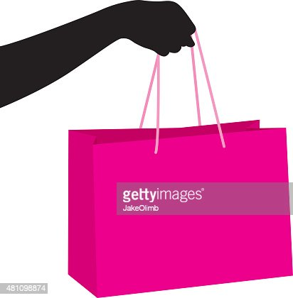 Hand Holding Shopping Bag Silhouette Vector Art | Getty Images