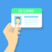 Hand holding the id card. Vector illustration