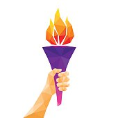 Hand holding torch. Low poly abstract geometric design. Vector illustration.