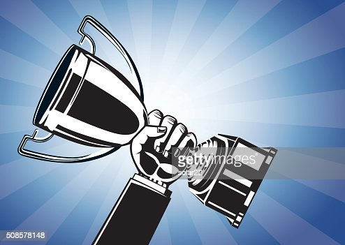 Hand holding trophy : Vector Art