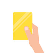 hand holding yellow football card. concept of arbitrator, removal of a football field, mentor, breaking of rules, presentation. flat style trend modern design vector illustration on white background