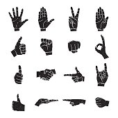 Vector illustrations set of black human hands in various gestures