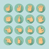 sixteen flat style hand icons isolated on green background