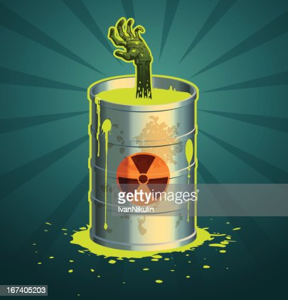 Hand in a barrel of radioactive waste vector : Vectorkunst